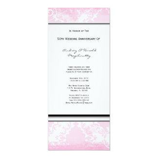 "White and Pink Damask Anniversary Party Invitation 4"" X 9.25"" Invitation Card"