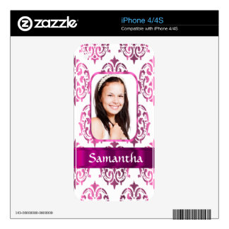 White and pink damask iPhone 4 skin
