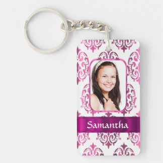 White and pink damask keychain