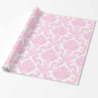 White and Pink Damask | Wrapping Paper