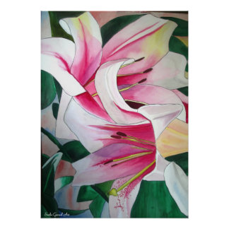 White and Pink day lily flower watercolor art Posters