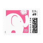 White and Pink Elephant with Daisy Stamp