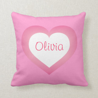White and pink fade heart pillow