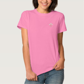 White and Pink Fleur de Lis Embroidered Shirt
