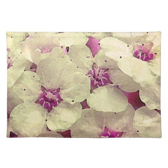 White and Pink Floral Cloth Placemat