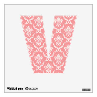 """White and Pink Floral Damask Letter """"V"""" Wall Sticker"""