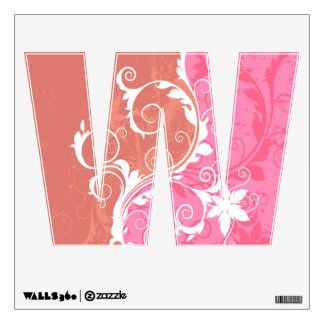 White and Pink Floral Grunge Wall Decal