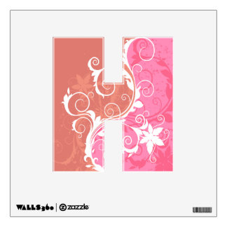 White and Pink Floral Grunge Wall Sticker