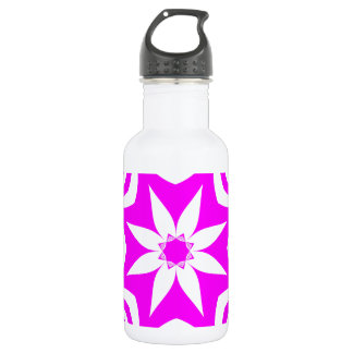 White and Pink Floral Mandala Water Bottle