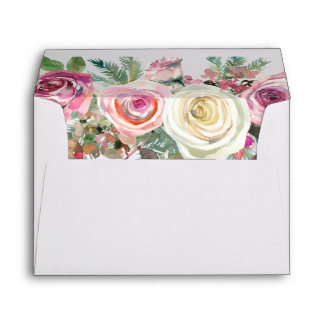 White and Pink Floral Rose All Occasion Envelope