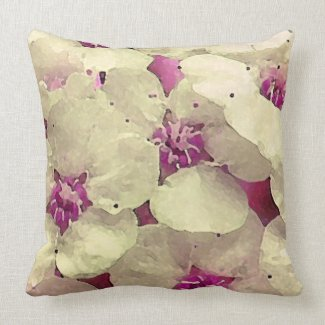 White and Pink Floral Throw Pillow