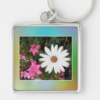 White and pink flowers. keychain