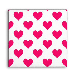 White and Pink Heart Pattern Envelope
