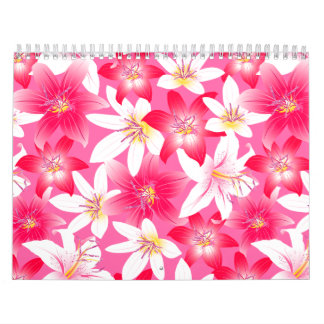 White and pink hibiscus floral calendar
