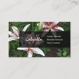 White And Pink lily Monogram Business Cards