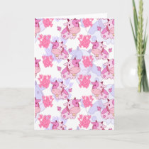 White and Pink Love Cow Pattern Holiday Card