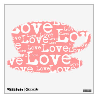 White and Pink Love Text Cup Pot Wall Decal