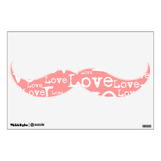 White and Pink Love Text Mustache Wall Decal