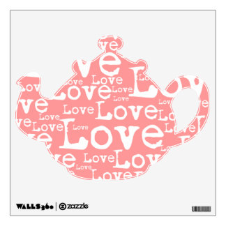 White and Pink Love Text Tea Pot Wall Decal