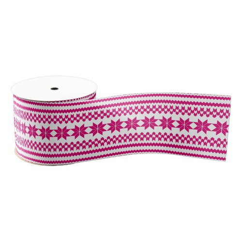 White and Pink Nordic Christmas Sweater Pattern Grosgrain Ribbon