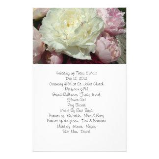 White and Pink Peonies Wedding Program Flyer