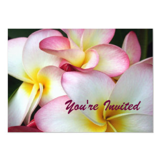 White and Pink Plumeria Custom Invitations