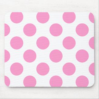 White and Pink Polka Dots Mousepad