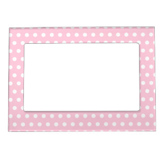 White and Pink Polka Dots Pattern. Magnetic Frame