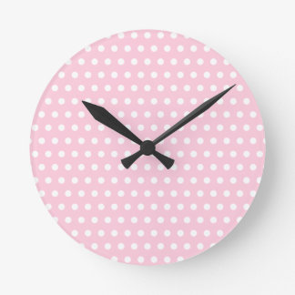 White and Pink Polka Dots Pattern. Round Clock