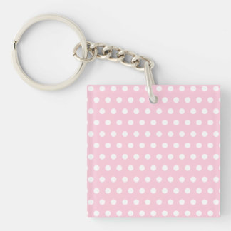 White and Pink Polka Dots Pattern. Single-Sided Square Acrylic Keychain