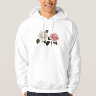 White and Pink Rose Illustration Hoodie