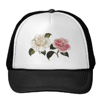 White and Pink Rose Illustration Trucker Hat