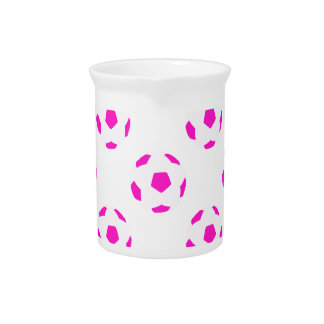 White and Pink Soccer Ball Pattern Beverage Pitcher