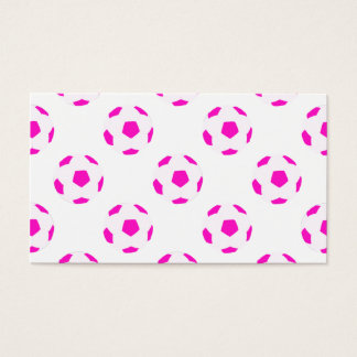 White and Pink Soccer Ball Pattern Business Card