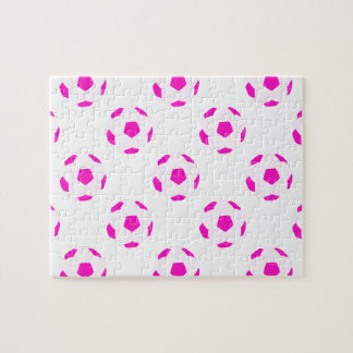 White and Pink Soccer Ball Pattern Jigsaw Puzzle