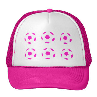 White and Pink Soccer Ball Pattern Trucker Hat