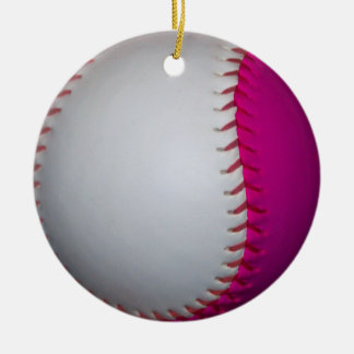 White and Pink Softball Ceramic Ornament