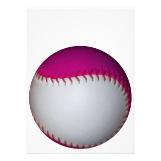 White and Pink Softball Personalized Invitations
