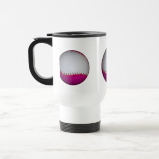 White and Pink Softball 15 Oz Stainless Steel Travel Mug