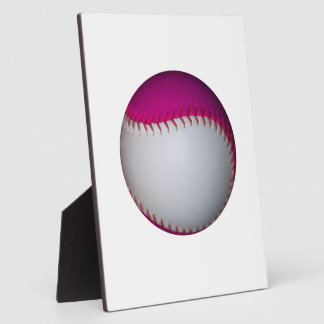 White and Pink Softball Plaque