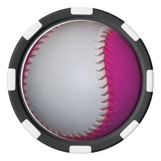 White and Pink Softball Poker Chip Set