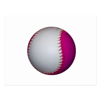 White and Pink Softball Postcard