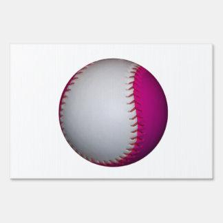 White and Pink Softball Sign