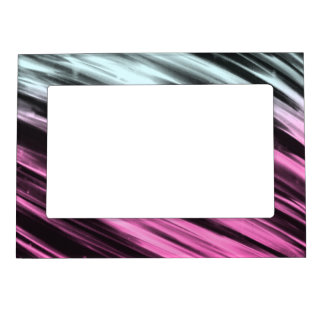 White and Pink Streaks Magnetic Picture Frame