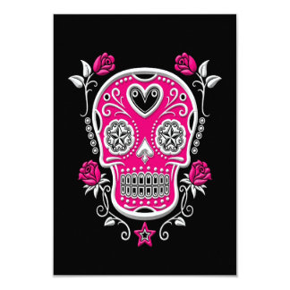 White and Pink Sugar Skull with Roses on Black Card