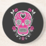 White and Pink Sugar Skull with Roses on Black Beverage Coaster