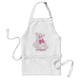 White and Pink Teddy Apron