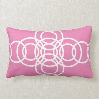 White and Pink Trellis Stripe Lumbar Pillow