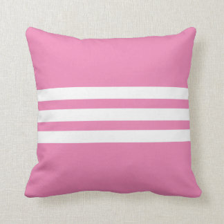 White and Pink Triple Stripe Throw Pillow