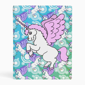 White and Pink Unicorn Mini Binder